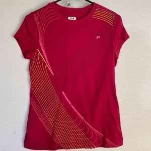 Fila Graphic T-Shirt Women's Size Medium Red Pink